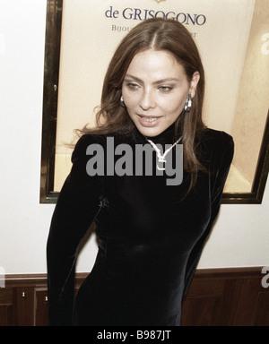 Italian movie star Ornella Muti presents famous black diamond jewelry by De Grisogono company in Russia - Stock Photo