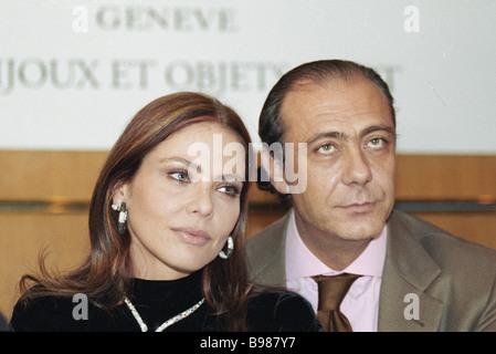 Italian movie star Ornella Muti left and famous jeweler Fawaz Gruosi head of company De Grisogono right attend presentation - Stock Photo