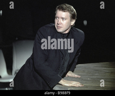 Actor Yevgeni Mironov as Hamlet in a scene from William Shakespeare play Hamlet - Stock Photo