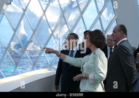 Right to left King Juan Carlos I of Spain Queen Sofia of Spain and Kazakh President Nursultan Nazarbayev at the - Stock Photo
