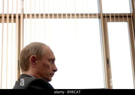 Russian President Vladimir Putin on a working visit in Elista - Stock Photo