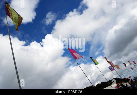Flags at Bestival. Isle of Wight. UK - Stock Photo