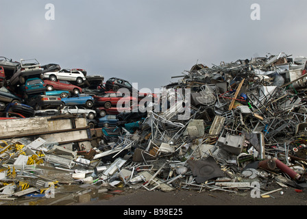 Scrap cars and scrap metal at a recycling centre, Opladen near Leverkusen, North Rhine-Westphalia, Germany. - Stock Photo