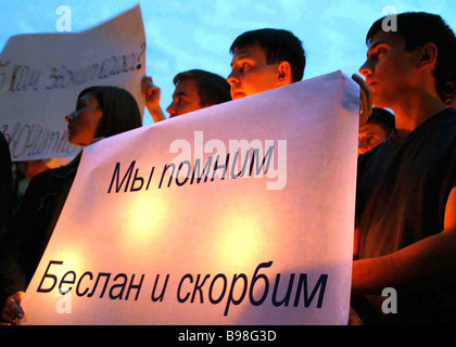 Silent rally to commemorate the death of the children killed in Beslan school No 1 - Stock Photo