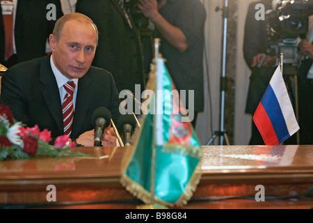 Russian President Vladimir Putin during Russian Turkmen talks at the presidential palace in Ashkhabad - Stock Photo