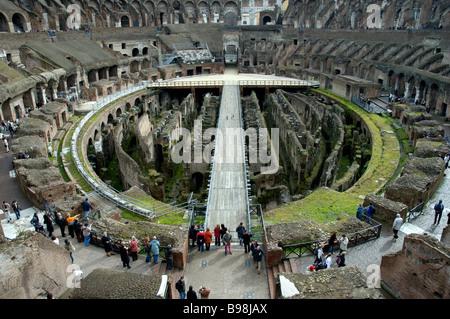 Via dei Fori Imperali Colosseo Colosseum Roman amphitheatre Interior People on walkways ROME ROMA LAZIO ITALY - Stock Photo
