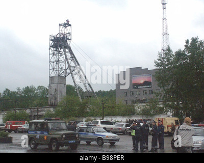 A methane explosion at the Yubileynaya coal mine in Kuzbass occurred when 218 miners were working underground 38 - Stock Photo