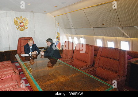 Russian President Vladimir Putin met with Akhmat Kadyrov Head of the Chechen Republican Administration after his - Stock Photo