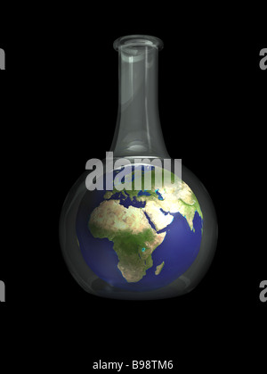 Earth globe, showing Africa, suspended in a beaker as viewed from outer space - Stock Photo