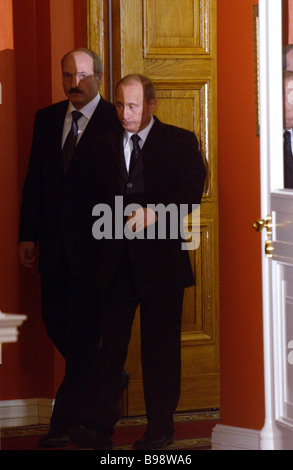Russian President Vladimir Putin and Belarussian President Alexander Lukashenko during a meeting of the Supreme - Stock Photo