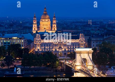 St Stephen's Basilica Chain Bridge Budapest Hungary - Stock Photo
