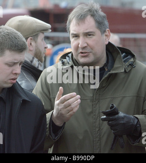 Dmitry Rogozin right the Congress of Russian Communities leader deputy of the State Duma before a rally Moscow is - Stock Photo