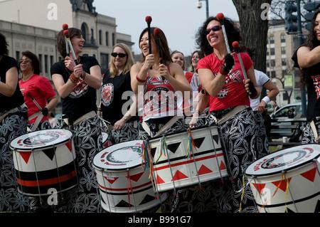 Batala Percussion Band of Washington D.C. during a Dupont Circle Performance. - Stock Photo