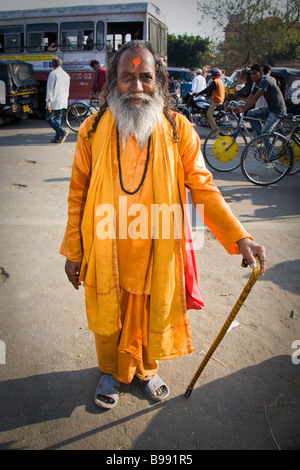 A holy man in a street, Pink City, Jaipur, Rajasthan, India - Stock Photo