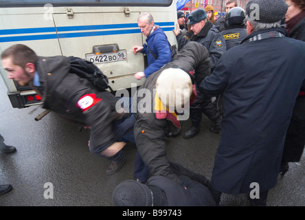 Clashes of special police with participants in the unauthorized opposition action March of the disagreeing in St - Stock Photo