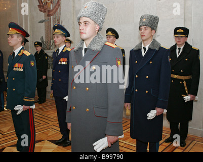 A new Russian military uniform show at the General Staff of the Defense Ministry - Stock Photo