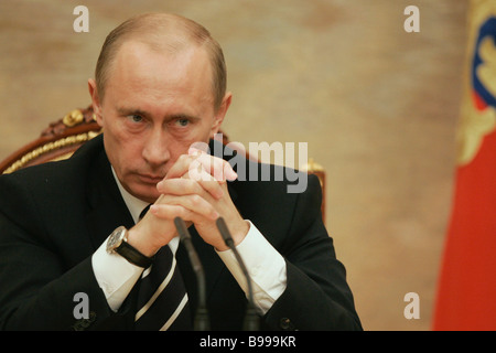 President Vladimir Putin at a meeting with government ministers at the Kremlin - Stock Photo
