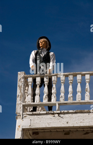 Pioneer Living History Museum in Phoenix Arizona with gunfighter on the balcony of the Old Opera House. - Stock Photo
