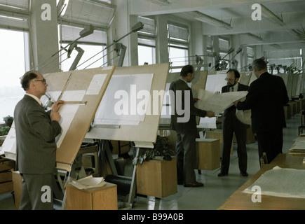 Staff members of the designs buro of the Leningrad association Izhorsky Zavod - Stock Photo