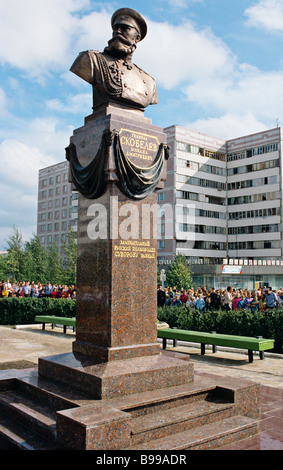 Monument to General Mikhail Skobelev a Russian military leader 1843 1882 - Stock Photo