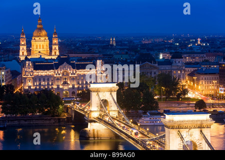 St Stephen's Basilica Chain Bridge Budapest Hungary - Stock Photo