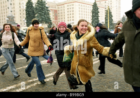 Students celebrating St Tatyana s Day and the 250th anniversary of Moscow State University named after M Lomonosov - Stock Photo