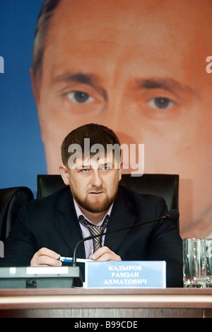Chechen president Ramzan Kadyrov attending a republican Pension Fund session in Grozny the Chechen capital - Stock Photo