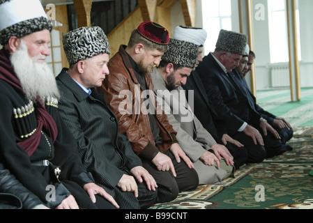 Chechen President Ramzan Kadyrov center during Mass - Stock Photo