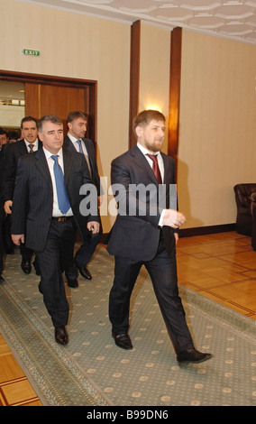 Chechen President Ramzan Kadyrov before a meeting with Chechen public figures and entrepreneurs living in Moscow - Stock Photo