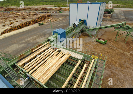 The OOO Svir Timber saw mill opened in the Leningrad Region It is a subsidiary of the Finnish concern Metsa Botnia - Stock Photo