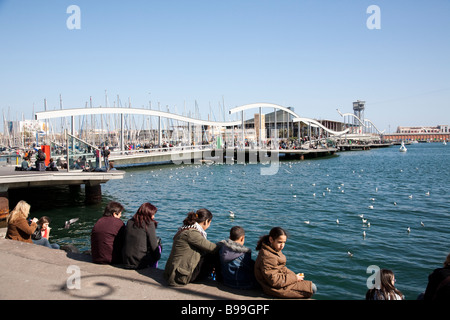 Rambla del Mar, Port Vell, Barcelona Spain - Stock Photo
