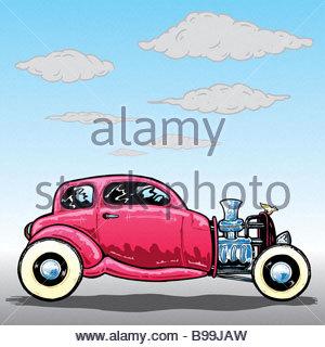 Retro style Hotrod car illustration - Stock Photo