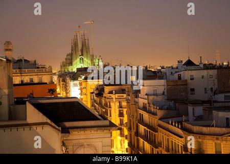 La Sagrada Familia, Roof terrace, El Pis de La Pedrera, Casa Mila, Antoni Gaudi, Barcelona - Stock Photo