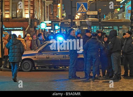 A medium yield improvised explosive device went off at McDonald s fast food restaurant on St Petersburg s Nevsky - Stock Photo