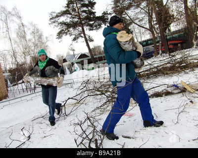 Members of the young political ecologists movement Locals rendered assistance to Moscow Region s orphanages They - Stock Photo