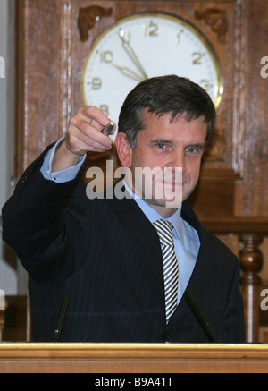 Russian Health and Social Development Minister Mikhail Zurabov at a cabinet session - Stock Photo