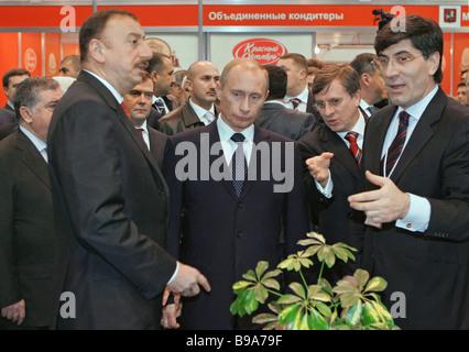Russia s President Vladimir Putin on an official visit to Azerbaijan President Putin center meets with Ilkham Aliev - Stock Photo