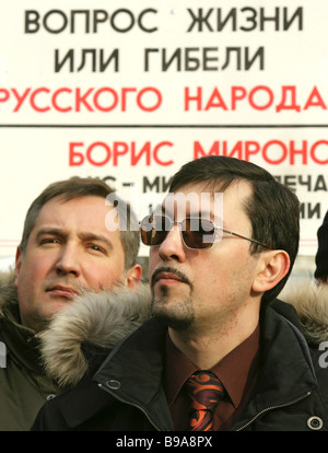 Dmitry Rogozin leader of Congress of the Russian Communities left and Alexander Belov head of anti illegal immigration - Stock Photo