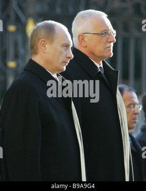 Presidents Vladimir Putin of Russia left and Vaclav Klaus of Czechia - Stock Photo