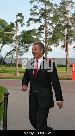 British Prime Minister Tony Blair before the working meeting of the G8 leaders - Stock Photo