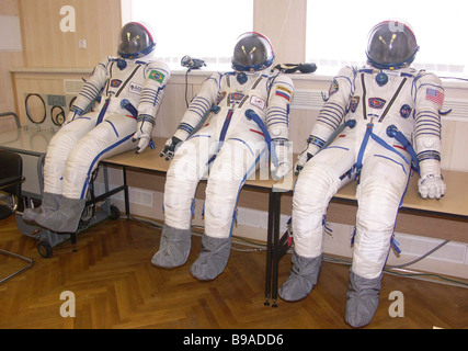 On the Baikonur cosmodrome the flight and stand by crews of the Soyuz TMA 8 spaceship had a training and tried on - Stock Photo