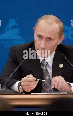 Vladimir Putin President of Russia addresses a news conference at the G8 summit International Media Center - Stock Photo