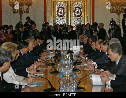 Russo Kazakh negotiations in the Kremlin - Stock Photo