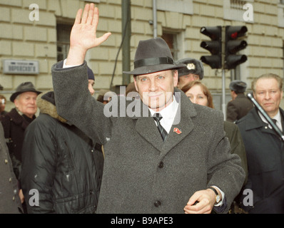 Ex member of the CPSU Central Committee Politburo Oleg Shenin charged with plotting a state coup GKChP welcomes - Stock Photo