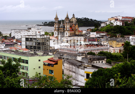 City view of Ilhéus St Sebastian Cathedral Bahia Brazil South America - Stock Photo