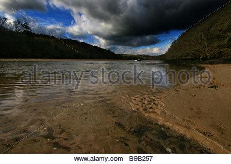 A storm rolls over the Erme Estuary South Hams - Stock Photo