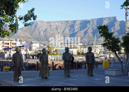Bronze sculptures of South Africa's four Nobel Peace Prize Laureates, Nobel Square, Victoria and Alfred Waterfront, - Stock Photo
