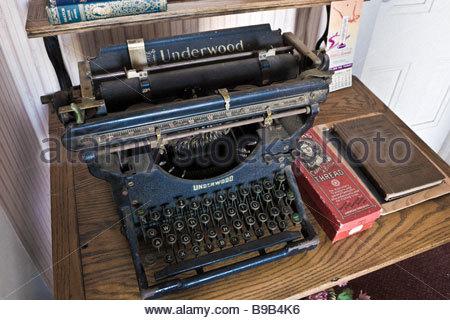Antique Underwood Typewriter on Desk at Centennial Heritage Park Glendora California - Stock Photo