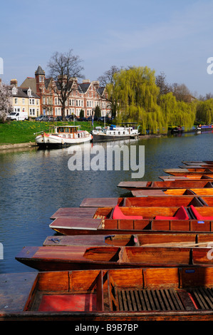 Punts moored at on the River Cam at Jesus Green, with houses along Chesterton Road in the background, Cambridge - Stock Photo