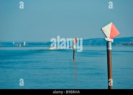 Navigation marks at bay of Fussach, Lake Constance, Austria | Seezeichen in der Bucht von Fussach, Bodensee, Österreich - Stock Photo